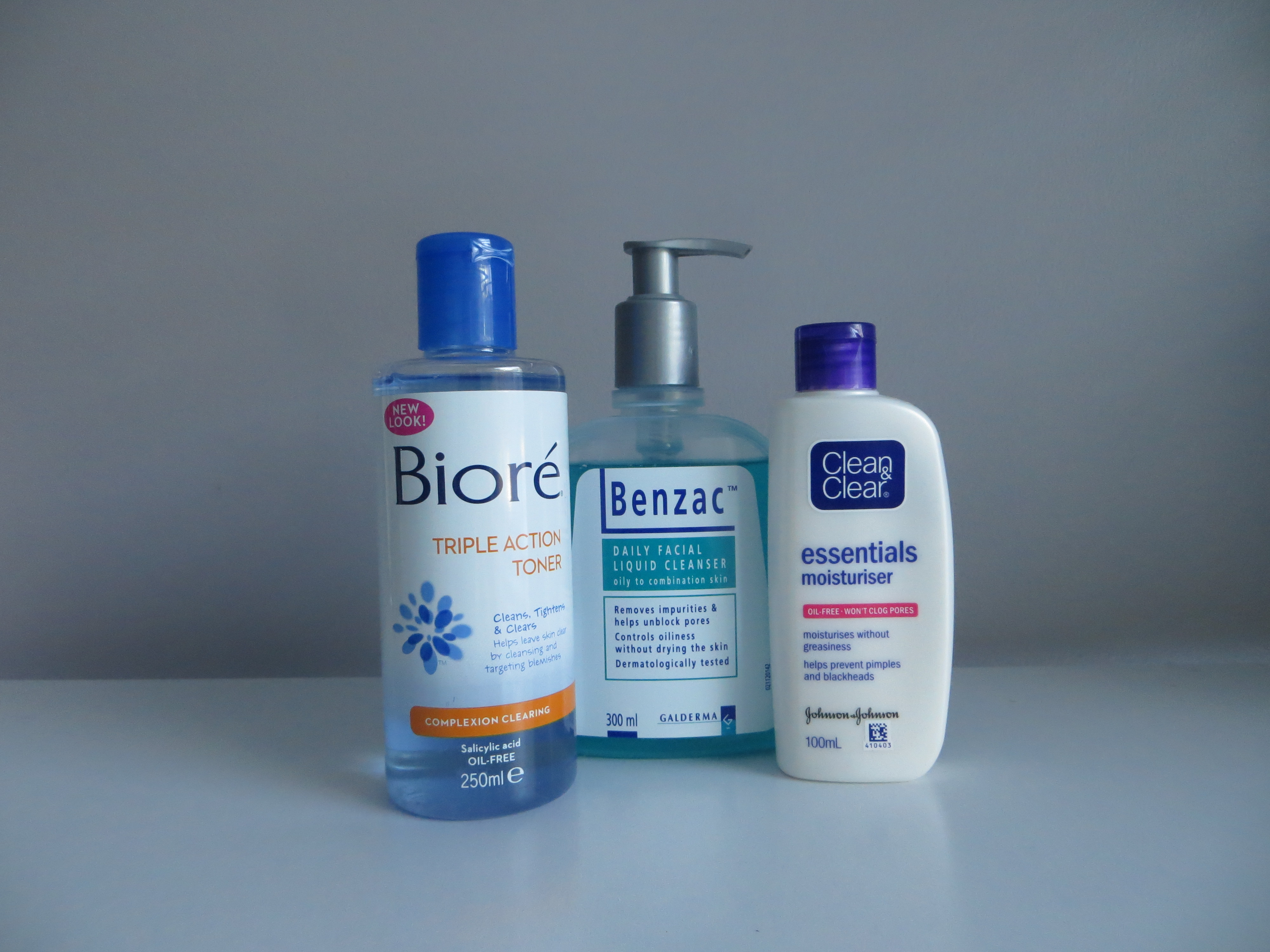 Benzac Daily Skin Wash, Biore Toner and Clean and Clear Moisturiser.